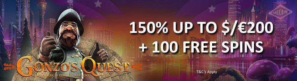 150% Up To $/€200 Match Bonus + 100 Free Spins
