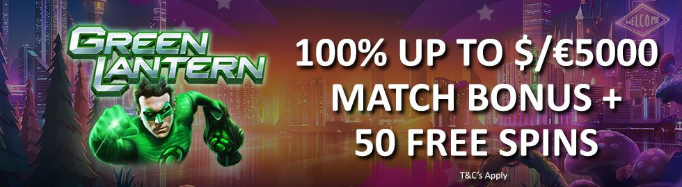 100% Up To $/€5,000 Match Bonus + 50 Free Spins