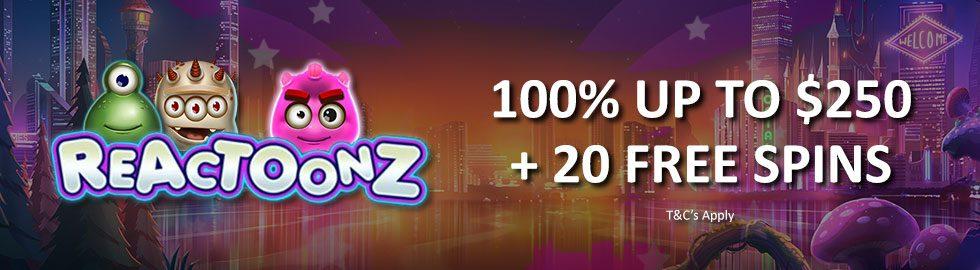 100% Bonus Up To $250 + 20 Free Spins