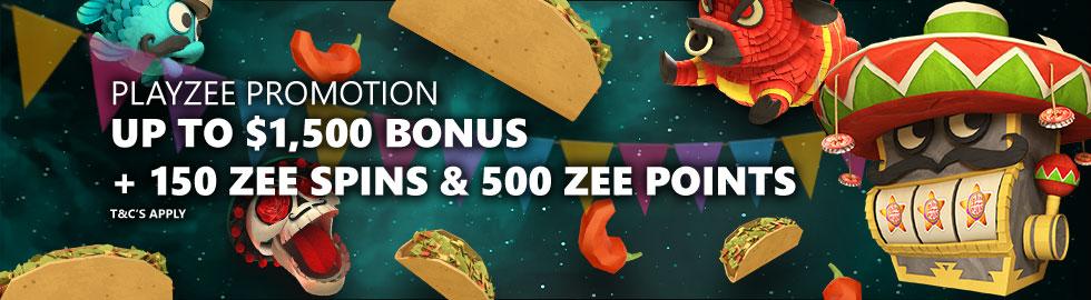Up To $1,500 Bonus + 150 Zee Spins & 500 Zee Points