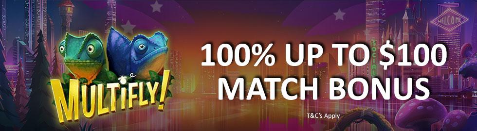 100% Up To $100 Match Bonus