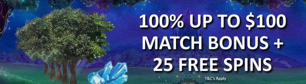 100% Up To $100 Match Bonus  + 25 Free Spins