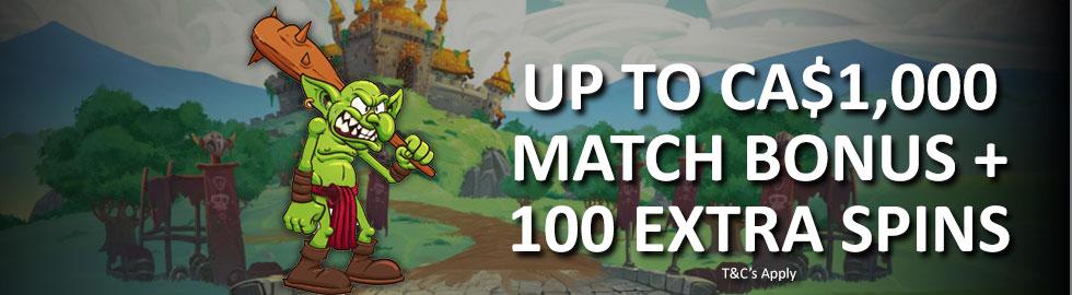 Up To CA$1,000 Match Bonus + 100 Extra Spins