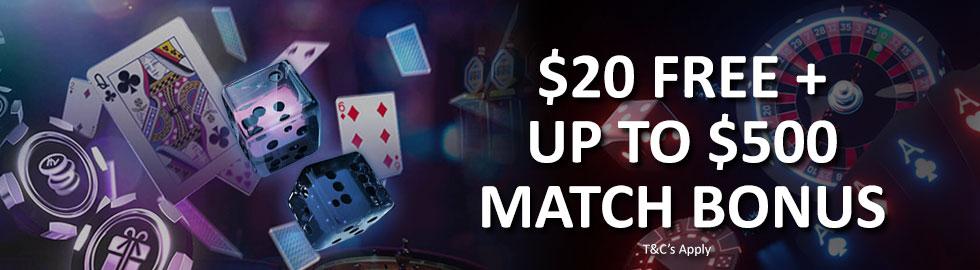 20$ free + Up To $500 match bonus