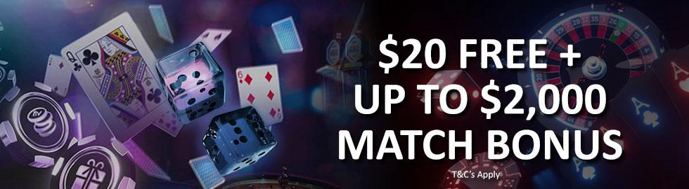 $20 Free + Up To $2,000 Match Bonus