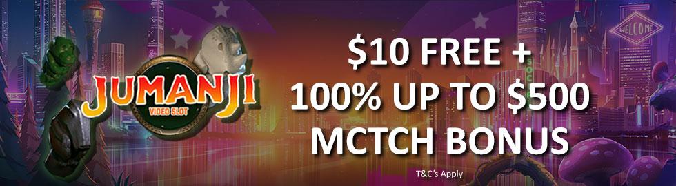 $10 Free + 100% Up To $500 Match Bonus