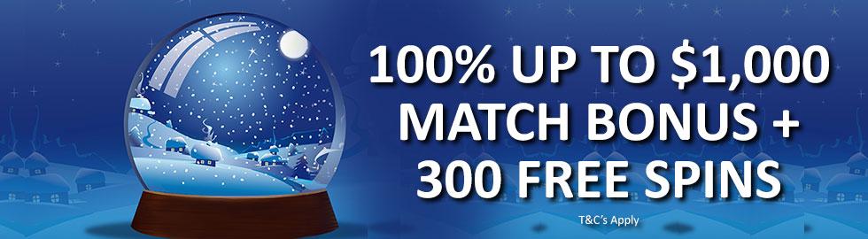 100% Up To $1,000 Match Bonus + 300 Free Spins