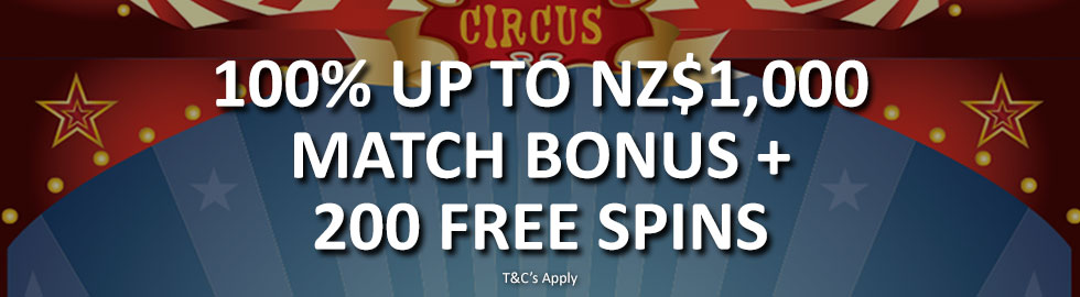 100% Up To NZ$1,000 Match Bonus + 200 Free Spins