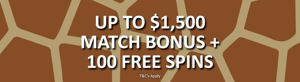 Up To $1,500 Match Bonus + 100 Free Spins